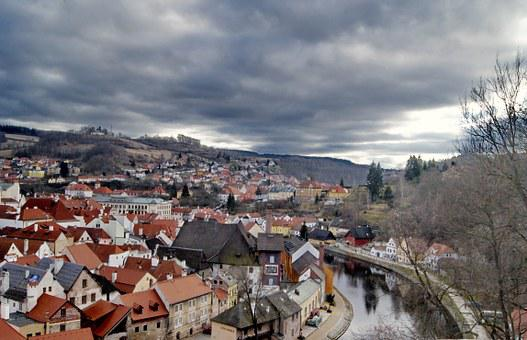 Czech Republic, Country, Clouds, Sky, City