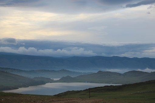 Landscape, Baikal, Mountains, Haze, Sky, Nature, Dahl