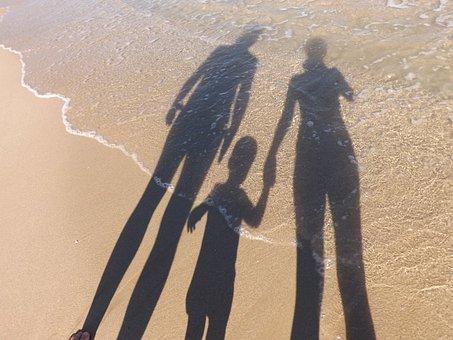 Family, Shadows, Sea, Seaside, Beach, Summer, Vacation