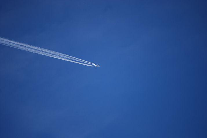 Aircraft, Contrail, Sky, Fly, Travel, Blue