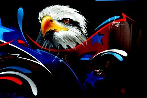 Eagle, Graffiti Wall, Wall Art, Street Art, Black, Head