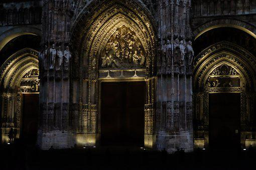 Rouen, Cathedral, France, Building, Nocturne