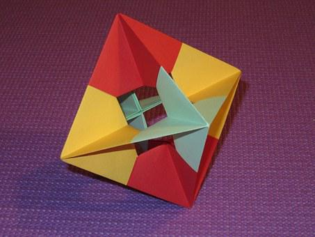 Octahedron, Platonic Solid, Origami, Colorful, Paper