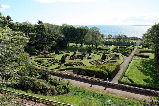 Gardens, Scotland, Sky, Grass, Sea, Scenic, Europe