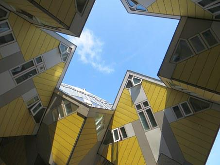 Rotterdam, Cube, Houses, Sky, Architecture, Building