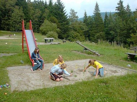 Playground, Sand Pit, Slide, See Saw, Girl
