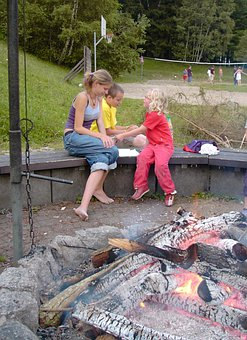 Fireplace, Grill Fire, Embers, Girl, Child, Sport, Play