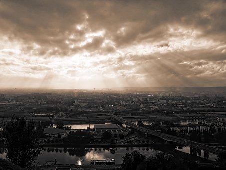 Twilight, Rouen, Sky, Sunset, Normandy, Clouds