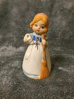Bell, Vintage, Decoration, Maiden, Wench, Collectible