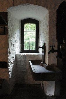 Castle, Youth Hostel, Window, Bathroom Sink, Old