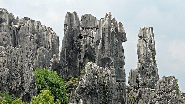 Rock, Rock Needles, Rock Formations, China, Kunming