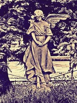 Angel, Stone Angel, Cemetery, Fir, Faith, Grave