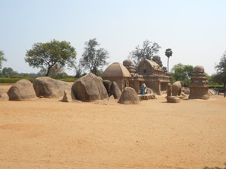 Five Rathas Temple, Mahabalipuram, India, Landscape