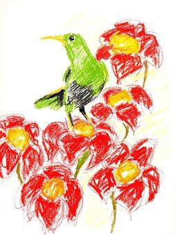 Crayon, Kid, Drawing Illustration, Bird, Flowers