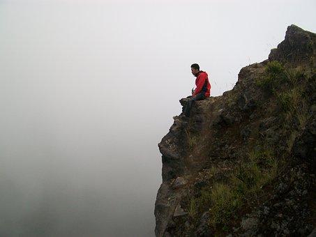 Cliff, Peaceful, Mountain, Outdoors, Man, Top