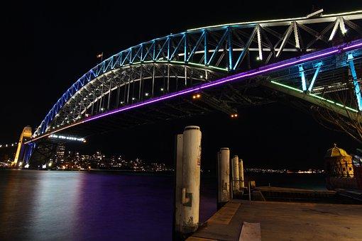 Bridge, Night, Sydney, Circular Quay, Water, River, Sky