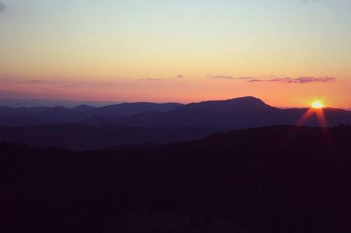 Black Forest, Belchen, Summit, Sunset, Panorama