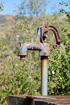Fountain, Pump, Rust, Water, Source, Old