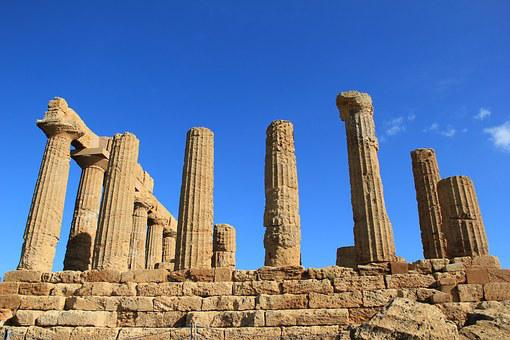 The Ruins Of The, Theatre, Sicily, Columns, Ancient