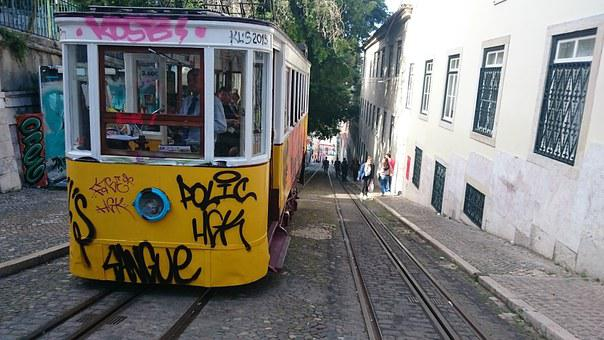 Lisbon, Tram, Vernacular, Rail, Graffiti, Street