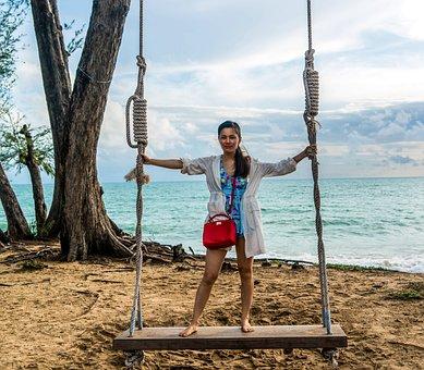 Phuket, Thailand, Girl, Swing, Beach, Travel, Sea, Sky