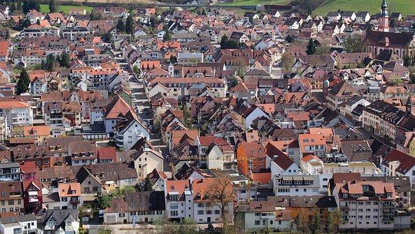 Village, Waldkirch, Roofs, Bird's Eye View
