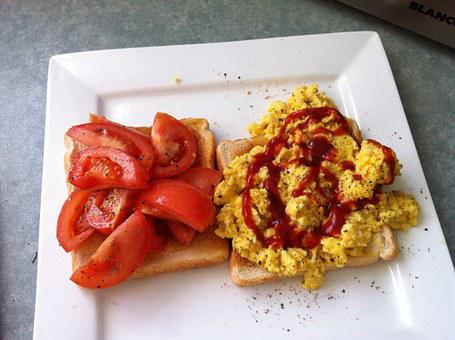 Scrambled Eggs, Breakfast, Plate, Brunch, Toasts, Meal