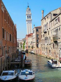 Venice, Rio, Leaning Tower, Channels, Canoes, Traffic