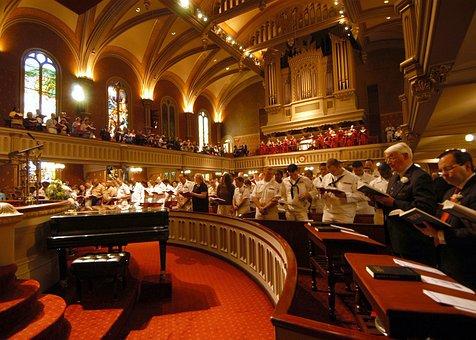 New York City, Church, Marble Collegiate, Service