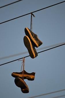 Boots, Hanging, Wire, Electrics