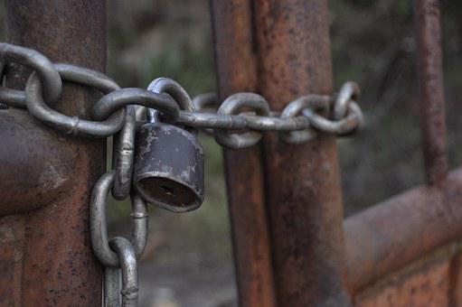 Chain, Rusty, Padlock, Fence, Grating, Grid, Rust