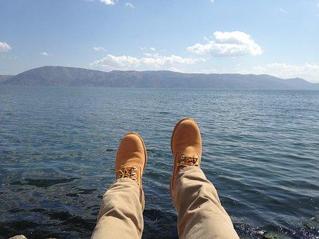Mountain, Sea Water, Blue Sky, Feet, Yellow Boots
