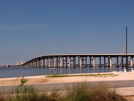 Bridge, Highway, Ocean, Water, Sand, Road, Sky