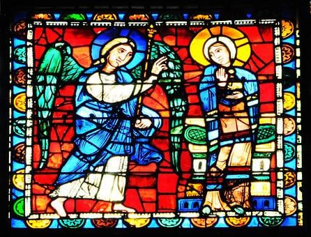 Stained Glass, Annunciation, Saint Gabriel, Glass