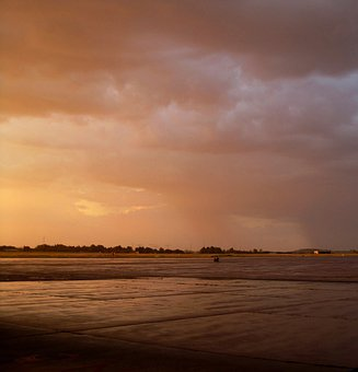Glow, Sunset, Pinky-gold, Light, Cloudy, Wet