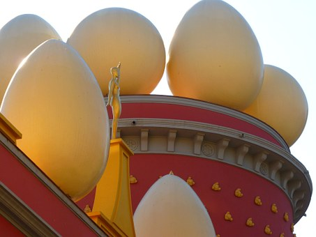 Egg, Ball, Figure, Building, Red, Dalí, Museum