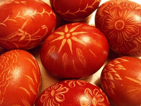 Easter, Eggs, Red, Brown, Decorations, Decorative