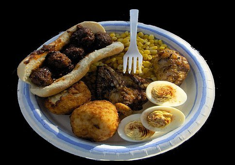 Food, Corn, Eggs, Bread, Paper, Plate, Fork, Plastic