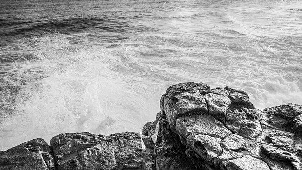 Scenery, Sea, Cliffs, Waves, Crash, Fog, Haze
