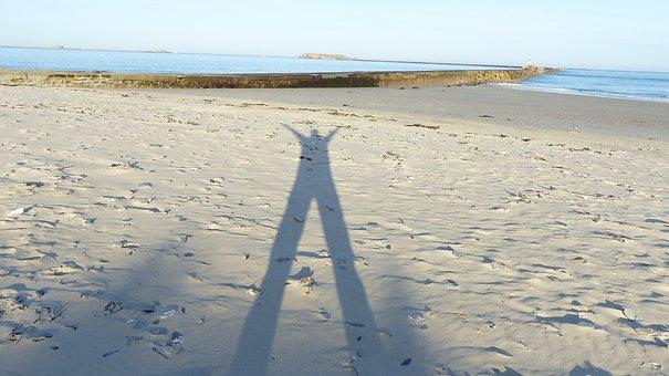 Shadow Man, Human Shadow In Sand, Shadow Play