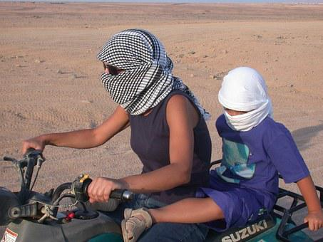 Motorcycle, Desert, Ride, Desolate, Mother, Child