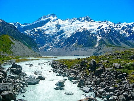New Zealand, Mount Cook, Alpine, River, Meltwater