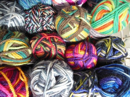 Yarn, Colored, Multi-colored, Knitting, Needlework