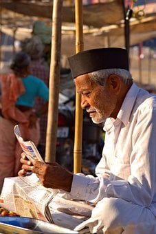 Old Man, Indian Old Man, Old, Man, Reading, Newspaper