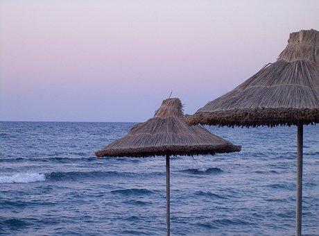 Dusk, Sea, Abendstimmung, Parasol, Straw Screen, Crete