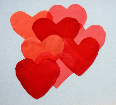Hearts, Shades, Red, Cluster, Satin, Voile