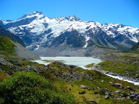 Mount, Cook, Mountain, New Zealand, Alpine, River, Lake