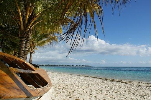 Ocean, Boat, Palm Tree, Clouds, Blue, Sand, Beach