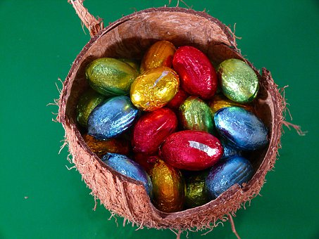 Easter, Eggs, Shell, Coconuts, Hard, Covers, Filled