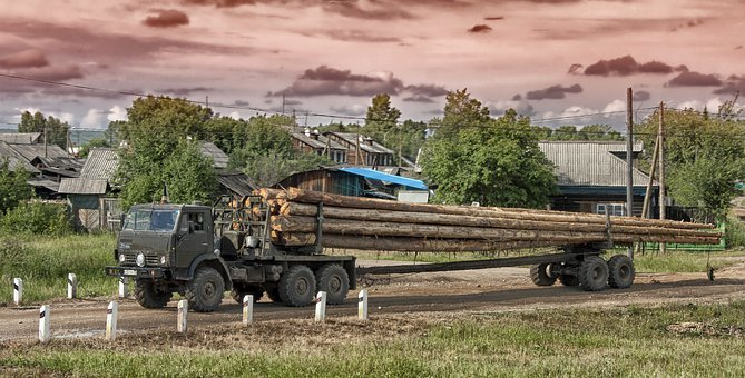 Yurty, Siberia, Truck, Logging, Logs, Sky, Clouds